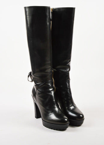 Valentino Garavani Black Leather Corset Detail Lug Sole Tall Boots Frontview