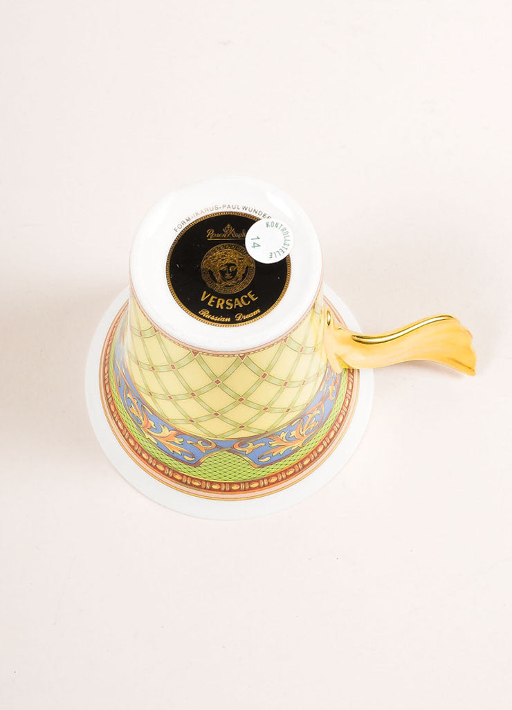 "Versace Rosenthal Gold and Multicolor ""Russian Dream"" Tea Cup Bottom View"