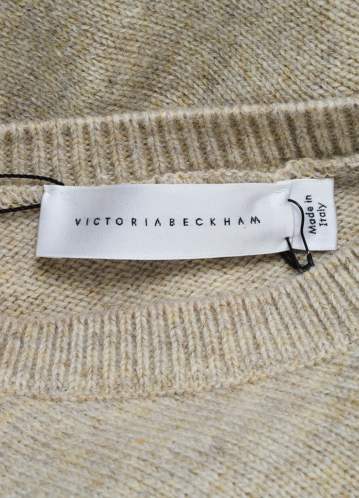 "Beige ""Cream Melange"" Victoria Beckham Wool Sleeveless Sweater Brand"