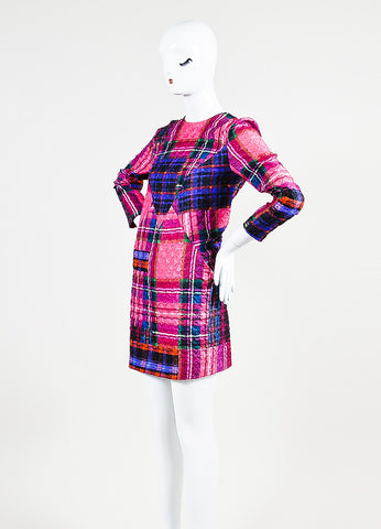 Victoria Victoria Beckham Multicolor Plaid Crinkle Shift Dress Sideview