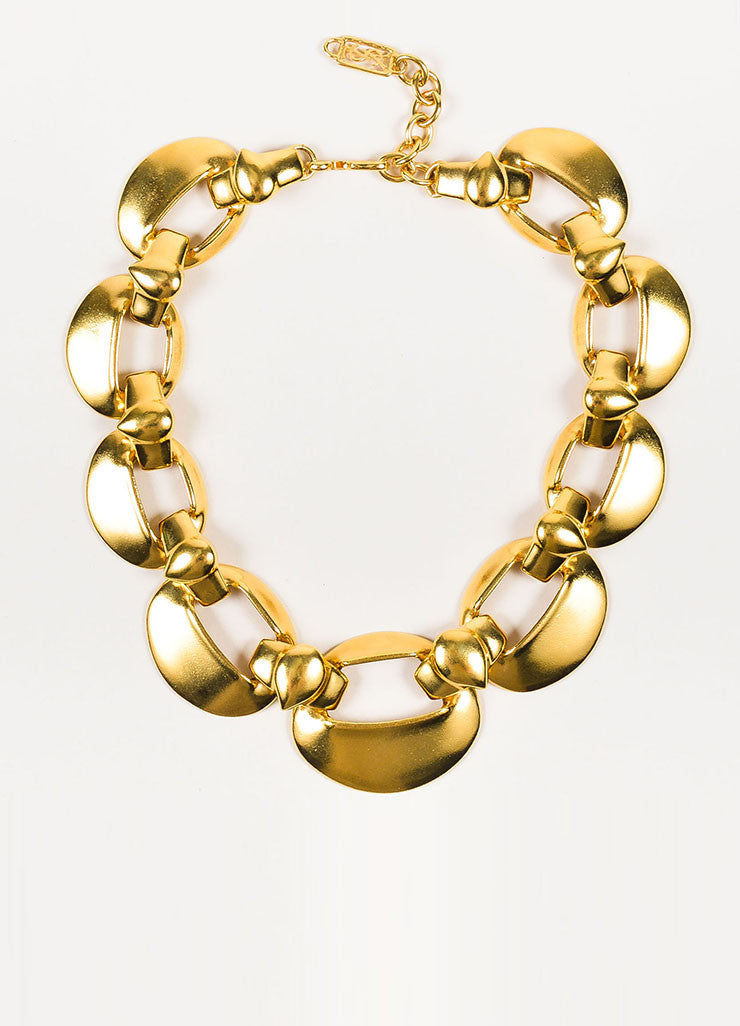 Yves Saint Laurent Gold Toned Oval Cut Out Chain Link Collar Choker Necklace Frontview