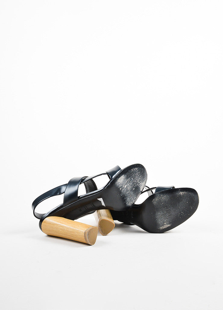 Yves Saint Laurent Rive Gauche Black and Beige Leather and Wood Chunky Sandals Outsoles
