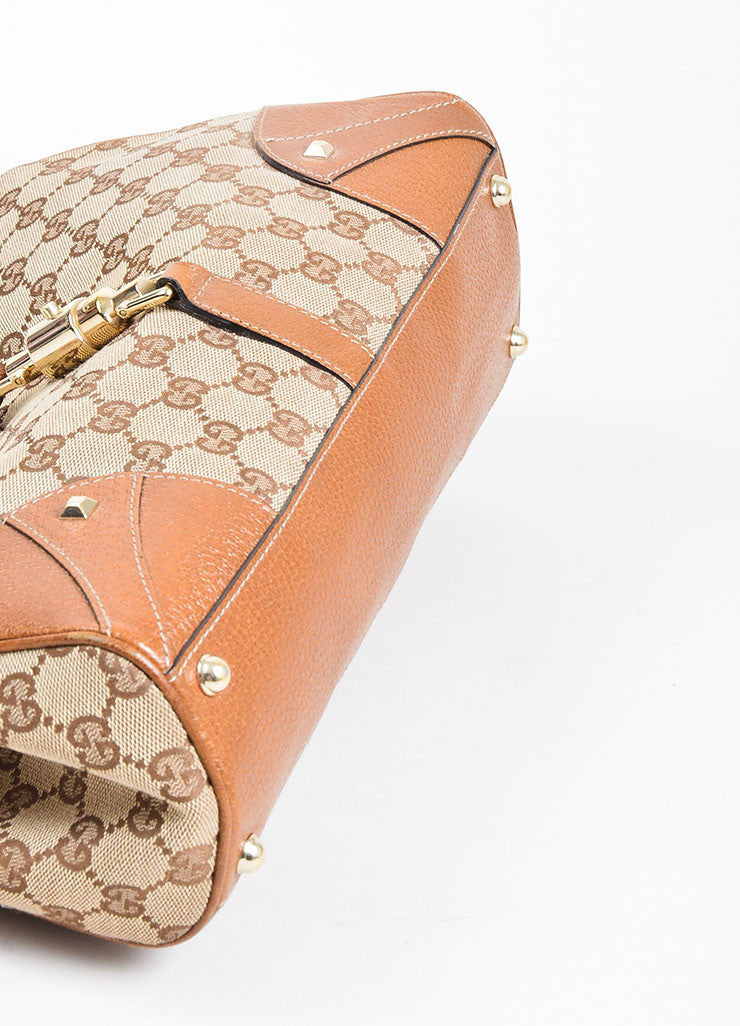 "Tan Gucci Monogram Canvas ""Nailhead Bardot"" Bag Bottom View"