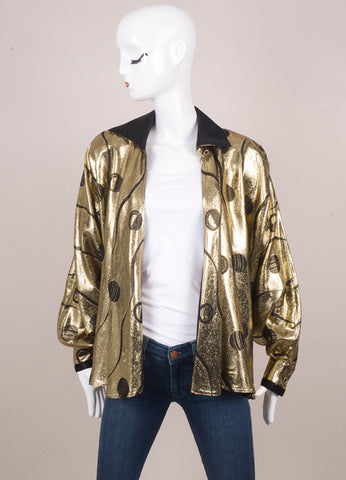 Black and Gold Metallic Batwing Jacket