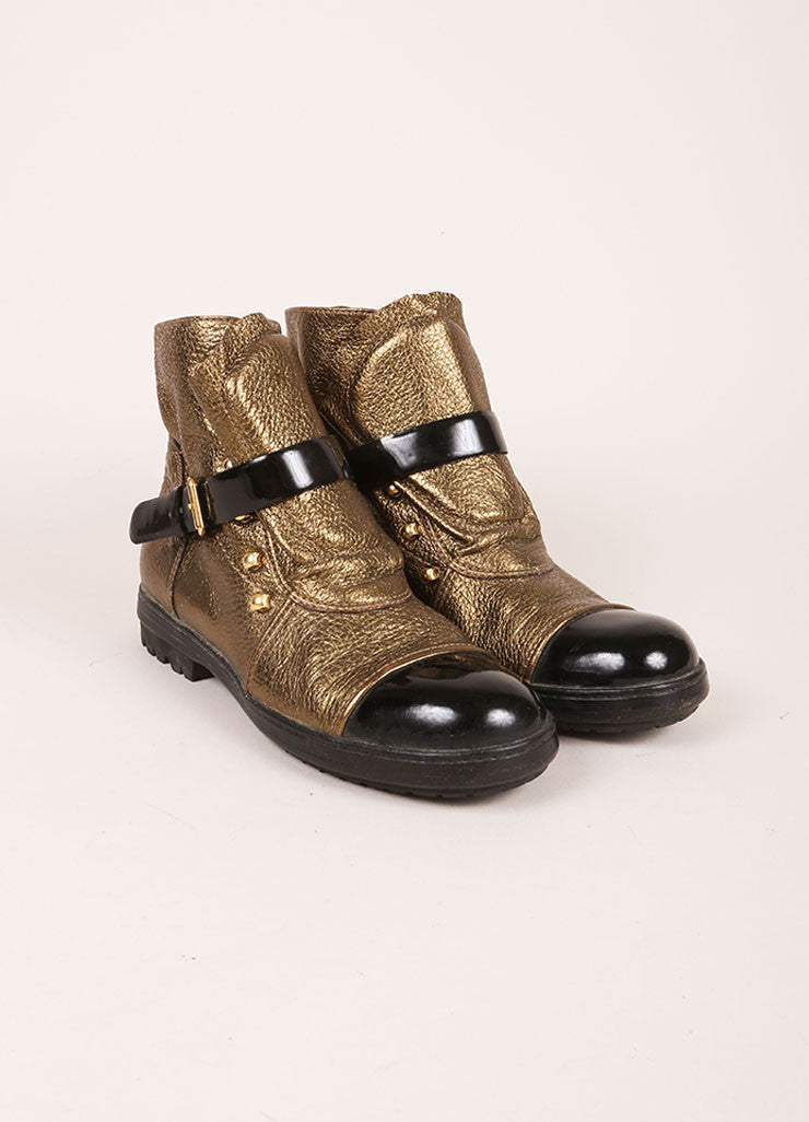 Chanel Gold Toned and Black Leather Victorian Hook Buckle Flat Booties Frontview