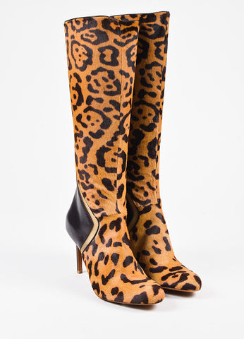 Edmundo Castillo Cheetah Print Ponyhair and Leather Heeled Boots  Frontview