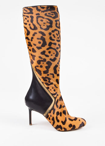 Edmundo Castillo Cheetah Print Ponyhair and Leather Heeled Boots Sideview