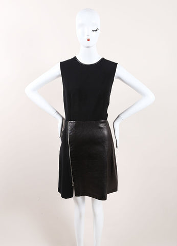 "3.1 Phillip Lim Black Leather ""Tromp L'oeil Layered Biker"" Dress Frontview"
