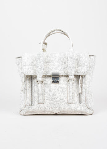 "3.1 Phillip Lim Cream and Grey Textured Leather Medium ""Pashli"" Satchel Bag Frontview"