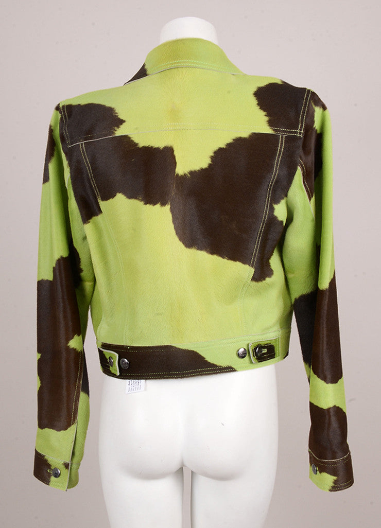 Green and Brown Cow Print Pony Hair Jacket