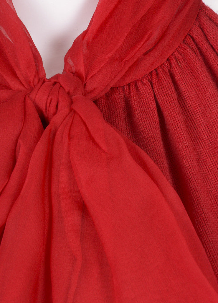 Giambattista Valli Red Wool Knit Silk Chiffon Dress Detail