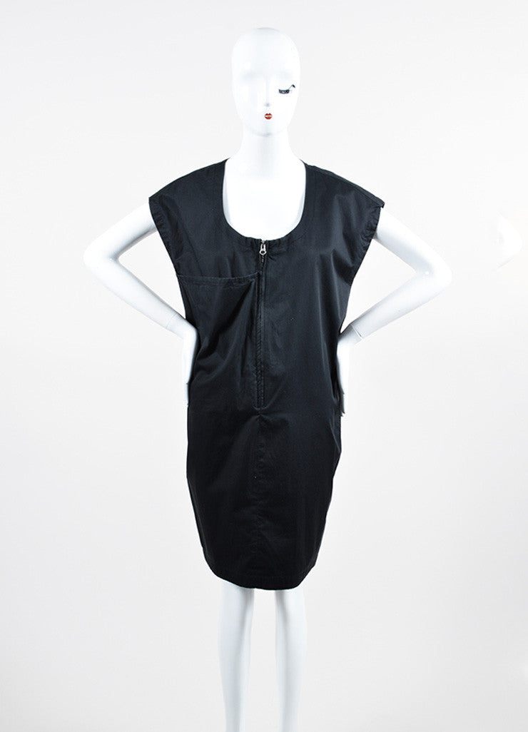 Acne Jeans Black Cotton Large Pocket Zip Front Sleeveless Shift Dress Frontview
