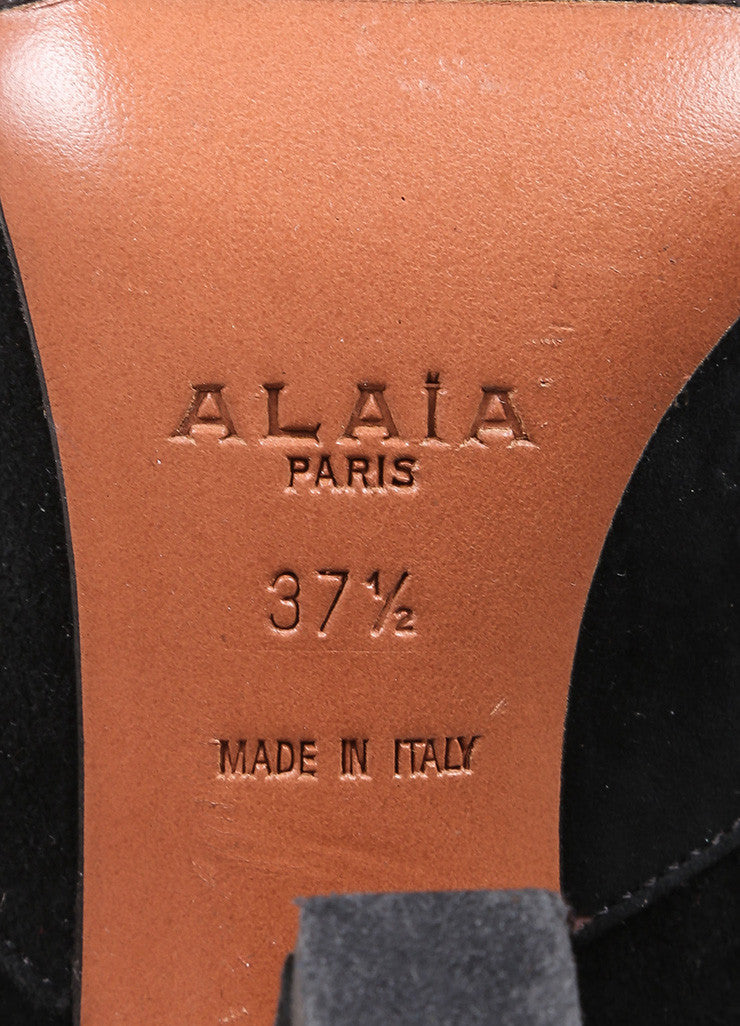 Alaia Black Suede Elastic Square Toe Ankle Boots Brand