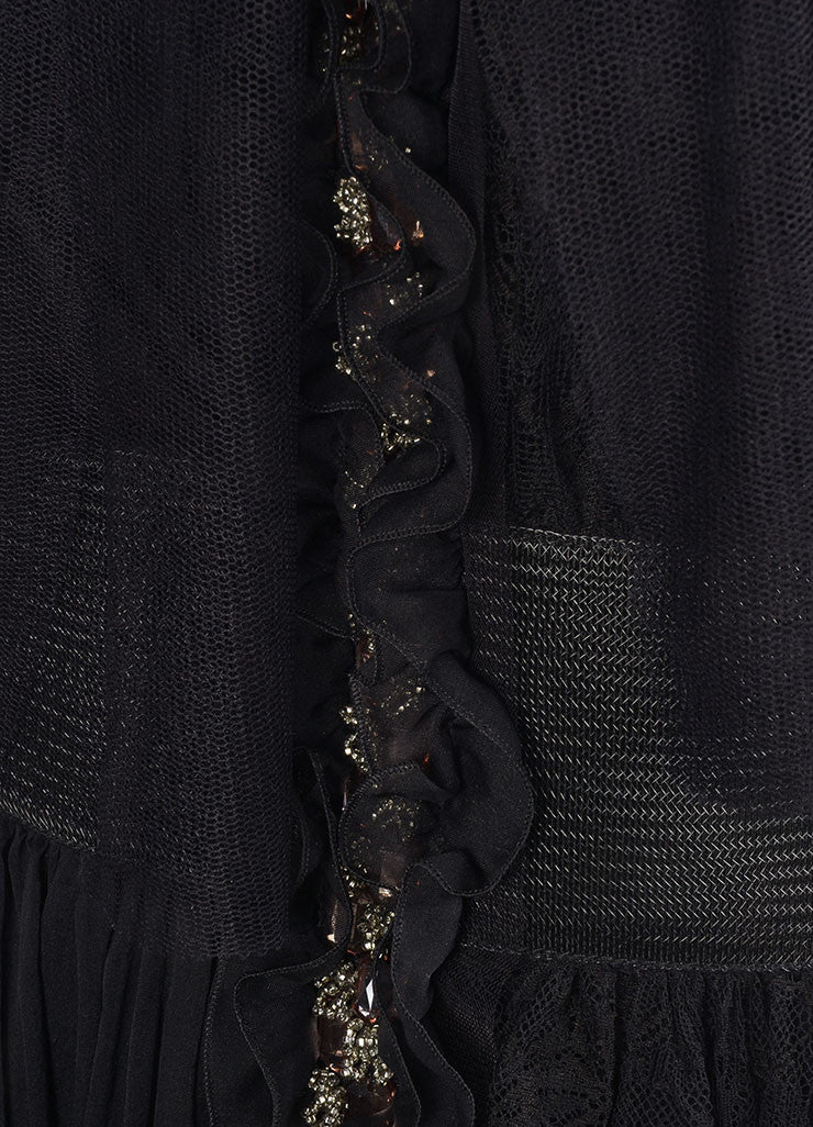 Alberta Ferretti Black Sleeveless Jewel Embellished Lace Chiffon Dress Detail