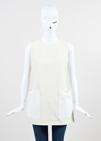 Alexander McQueen Beige and White Cotton Sleeveless A-Line Tunic Top Frontview