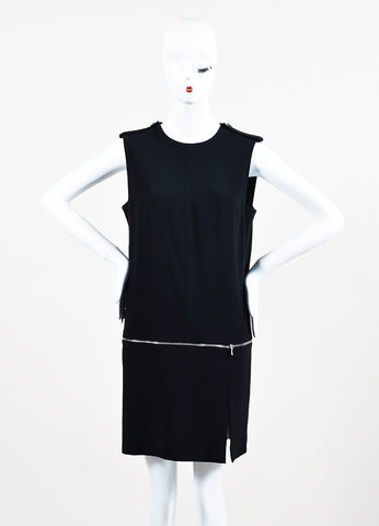 Alexander McQueen Black Zip Bottom Sleeveless Shift Dress Frontview