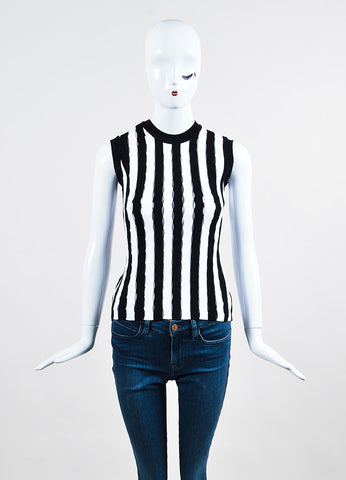 Black and White Alexander Wang Stretchy Striped Slit Detail Sleeveless Top Frontview