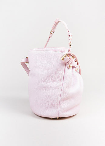 "Alexander Wang Light Pink Leather Studded Drawstring ""Diego"" Bucket Hobo Bag Sideview"