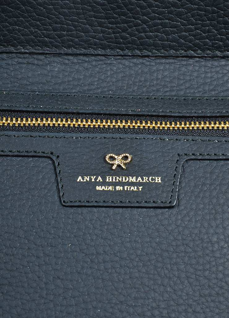 "Black Leather  Anya Hindmarch ""Ephson"" Top Handle Satchel Bag Brand"