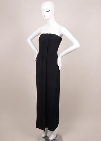 Giorgio Armani Black Silk Strapless Corset Long Dress Sideview