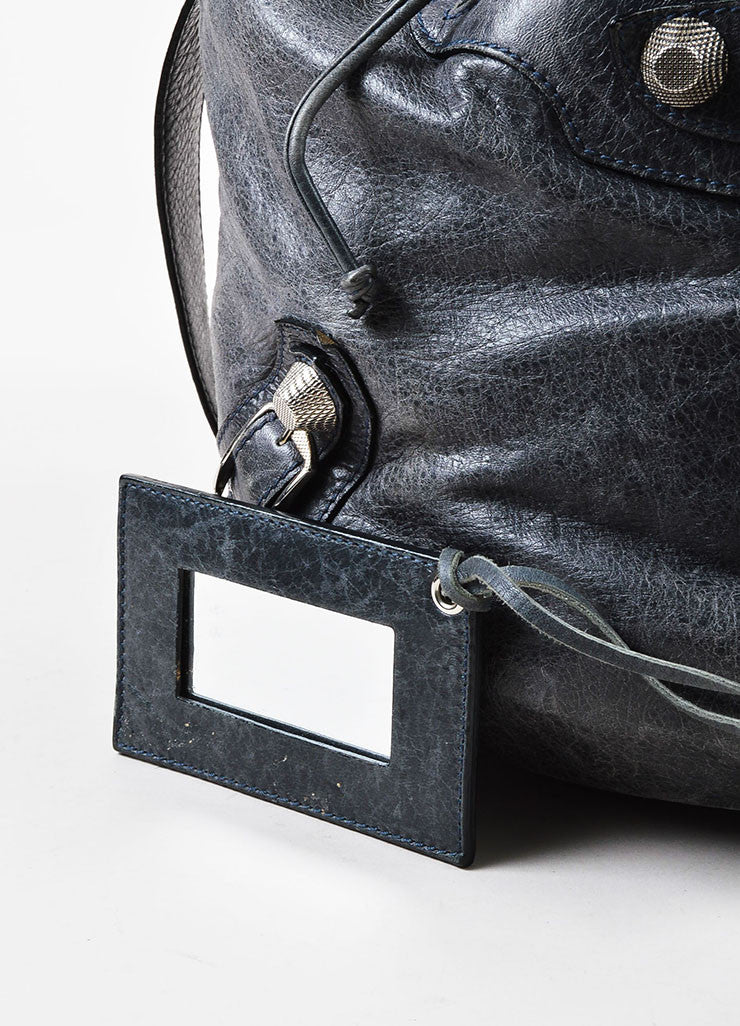 "Balenciaga Grey Distressed Leather ""Giant 21 PomPon"" Bucket Bag Detail 3"