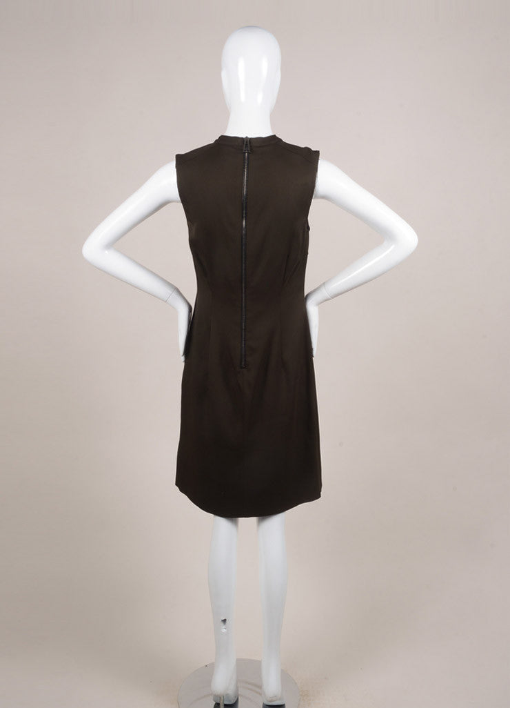 Belstaff Army Green and Black Woven Sleeveless Pleated Dress Backview