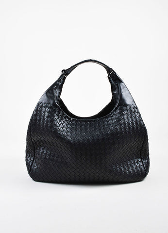 "Bottega Veneta ""Nero"" Black Nappa Leather Intrecciato ""Campana"" Hobo Bag Frontview"