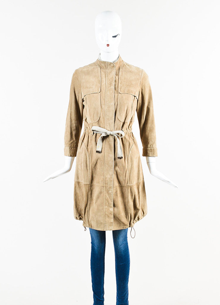 Brunello Cucinelli Tan Suede Drawstring Rope Belted Zip Front Jacket Frontview
