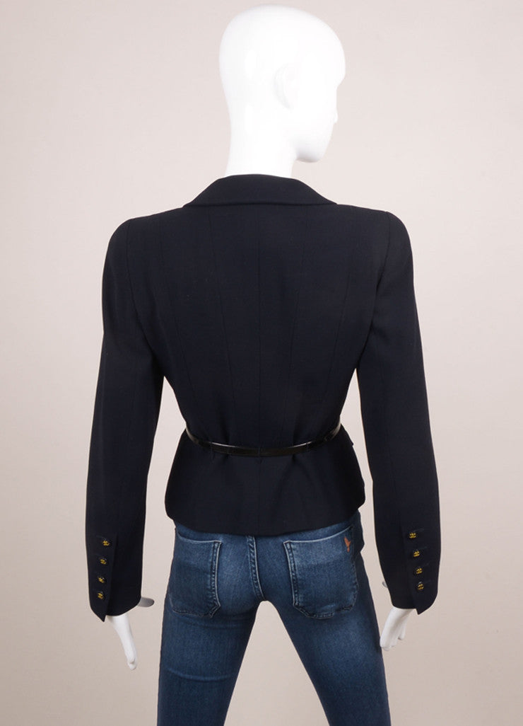 Chanel Navy Double Breasted Belted Jacket Backview