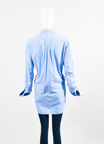 •ÈÀCeline Blue White Cotton Striped Oversized Button Down Long Sleeve Shirt backview