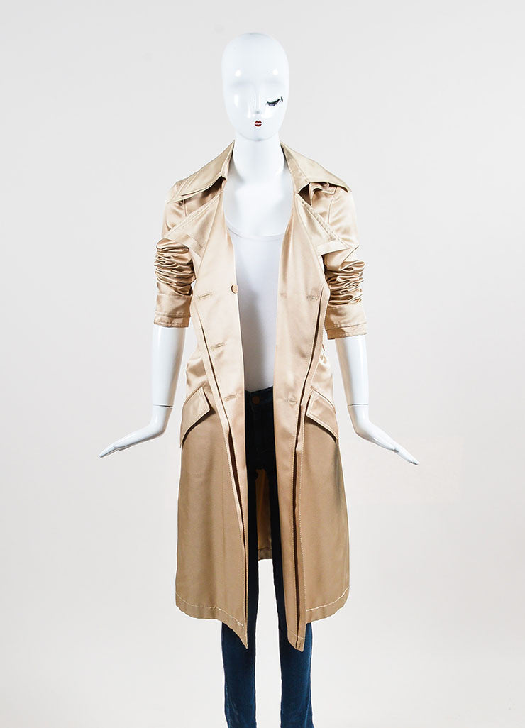Nude Tan Chanel Silk Twill Double Breasted Trench Coat Frontview
