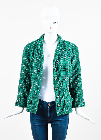 Green and White Chanel Tweed 'CC' Button Jacket Frontview