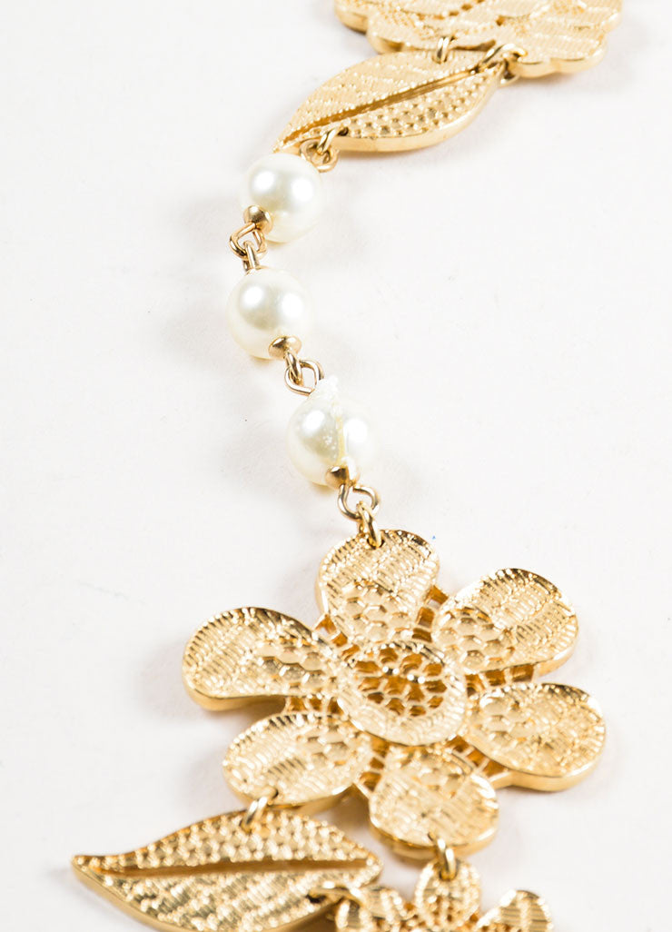 Gold Toned Chanel Cut Out Lace Flower Faux Pearl Beaded Chain Necklace Detail 2