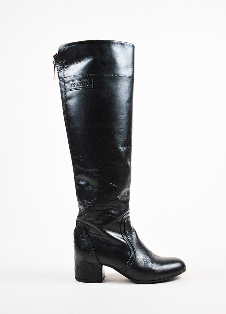 Chanel Black Leather Quilted Heel Zipped Knee High Riding Boots Sideview