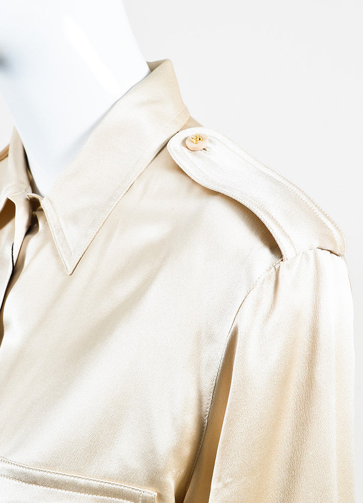 Chanel Beige Silk Satin Gold Toned 'CC' Button Chest Pocket Long Sleeve Blouse Top Detail