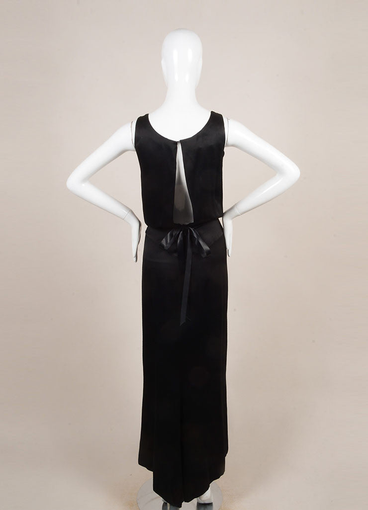 Chanel Black and Cream Rhinestone Button Tuxedo Style Open Back Sleeveless Gown Backview
