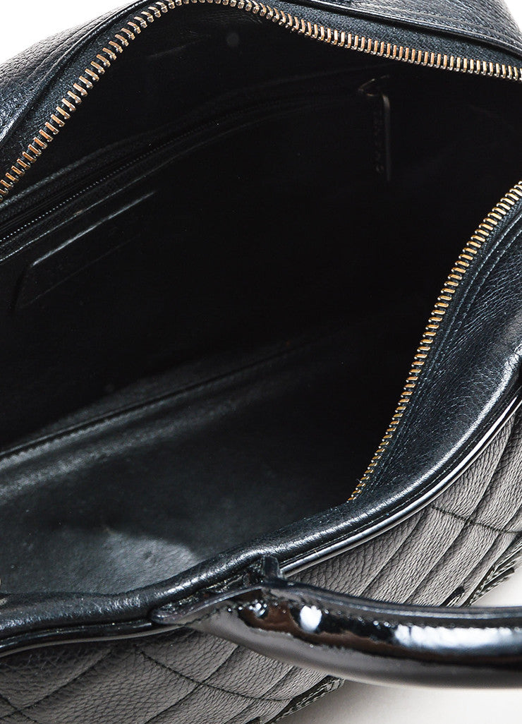 Chanel Black Leather Glossy Logo Detail and Top Handle Quilted Bowler Bag Interior