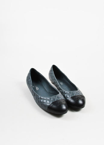 Grey and Black Chanel Lambskin Leather Quilted Cap Toe Ballerina Flats Frontview