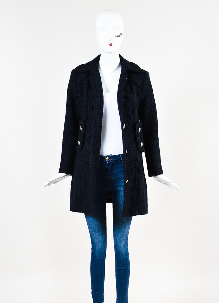 Chanel Navy and Black Woven Wool Tweed Trim Long Sleeve Coat Frontview
