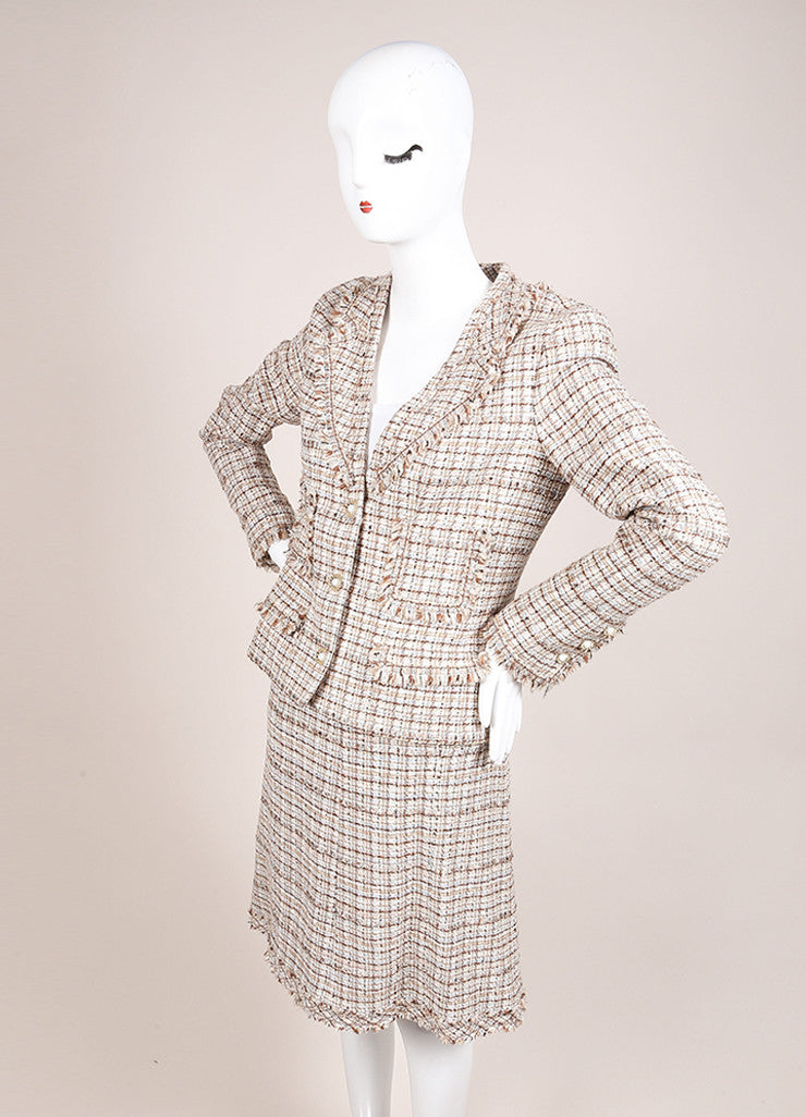 Chanel New With Tags Brown and Cream Silk and Wool Tweed Fringe Trim Skirt Suit Sideview