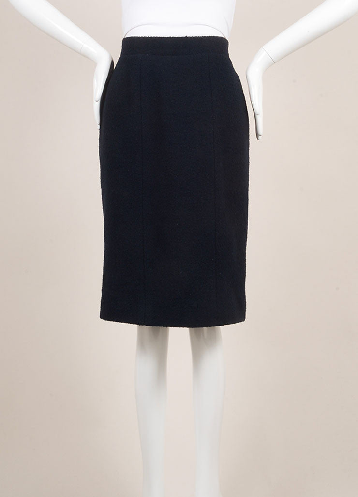 Chanel Navy Blue Wool Knit Pencil Skirt Frontview