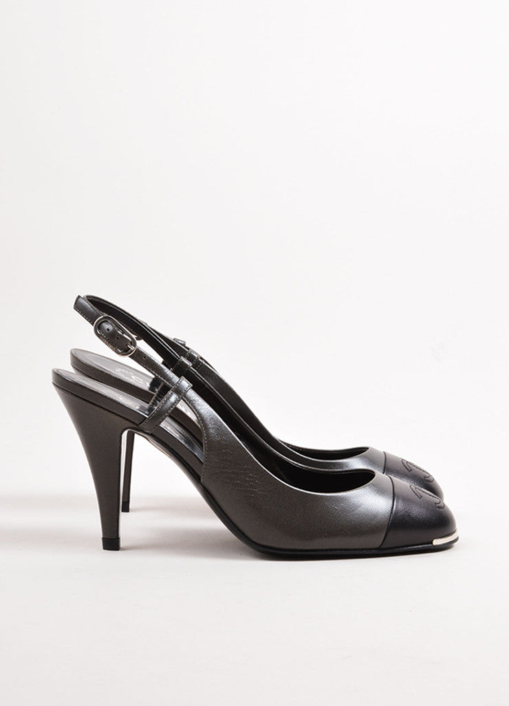 "Chanel Pewter and Black Leather Round Cap Toe ""CC"" Slingback Pumps Sideview"