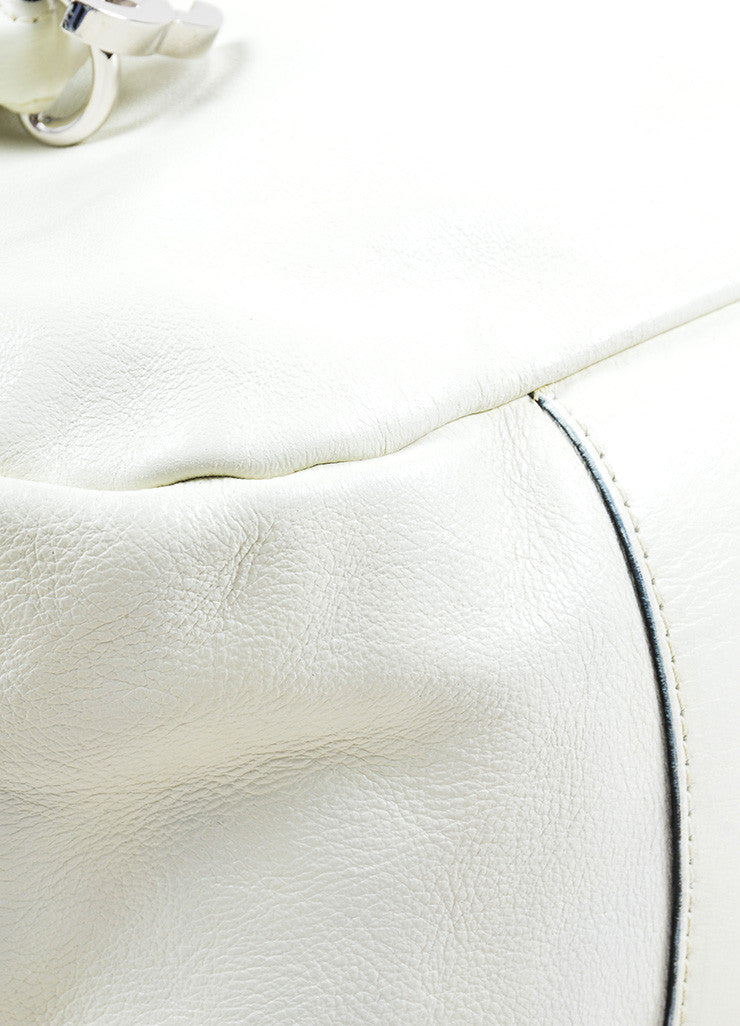 "Chanel White Caviar Leather ""CC"" Embroidered Oversized Hobo Bag Detail"