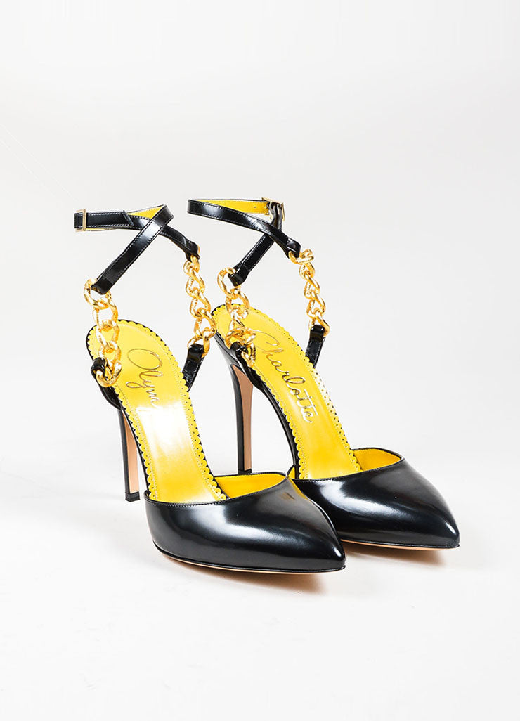"Black Leather Charlotte Olympia Gold Chain ""Ines"" Pointed Pumps Frontview"