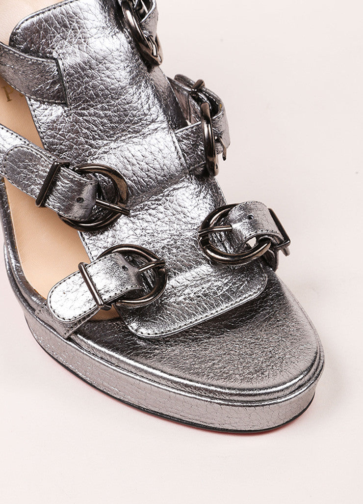 "Christian Louboutin New In Box Silver Metallic Leather ""Lima"" Sandals Detail"