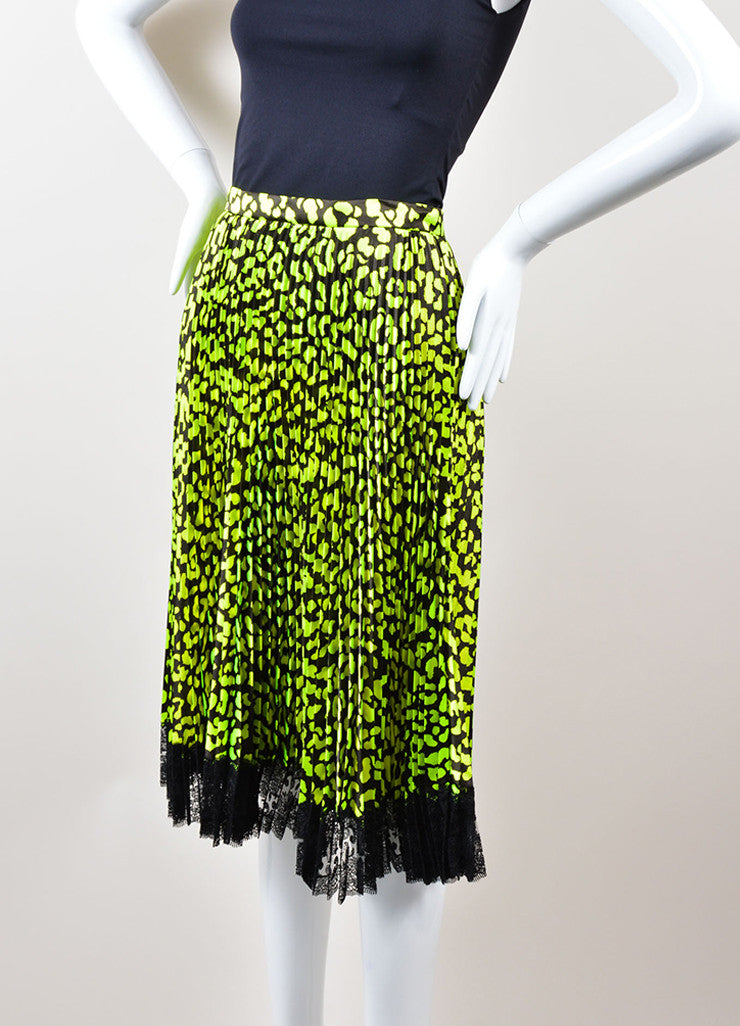 Christopher Kane  Neon Green and Black Lace Trim Pleated Satin Skirt Sideview
