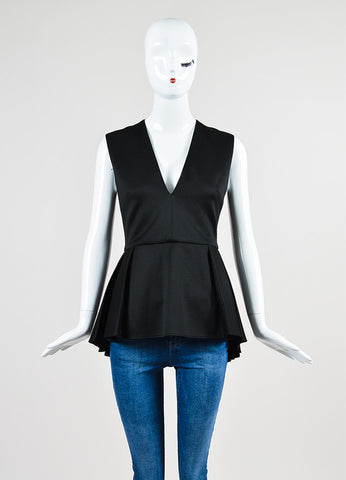 Black Cushnie Et Ochs Jersey Wool Pleated Sleeveless Peplum Top Frontview