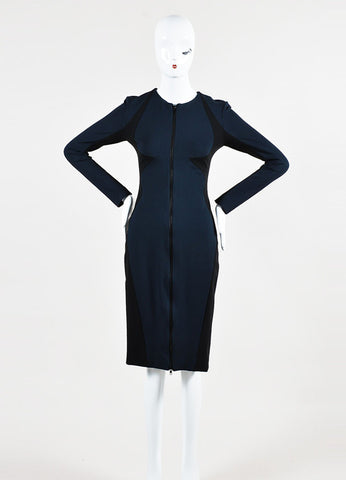 Cushnie et Ochs Black and Navy Stretch Zip Front Long Sleeve Dress Frontview