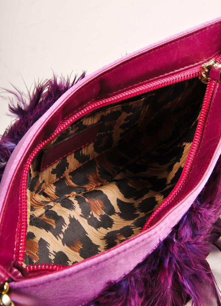 Purple and Gold Toned Feather and Satin Chain Strap 2 Way Clutch Bag