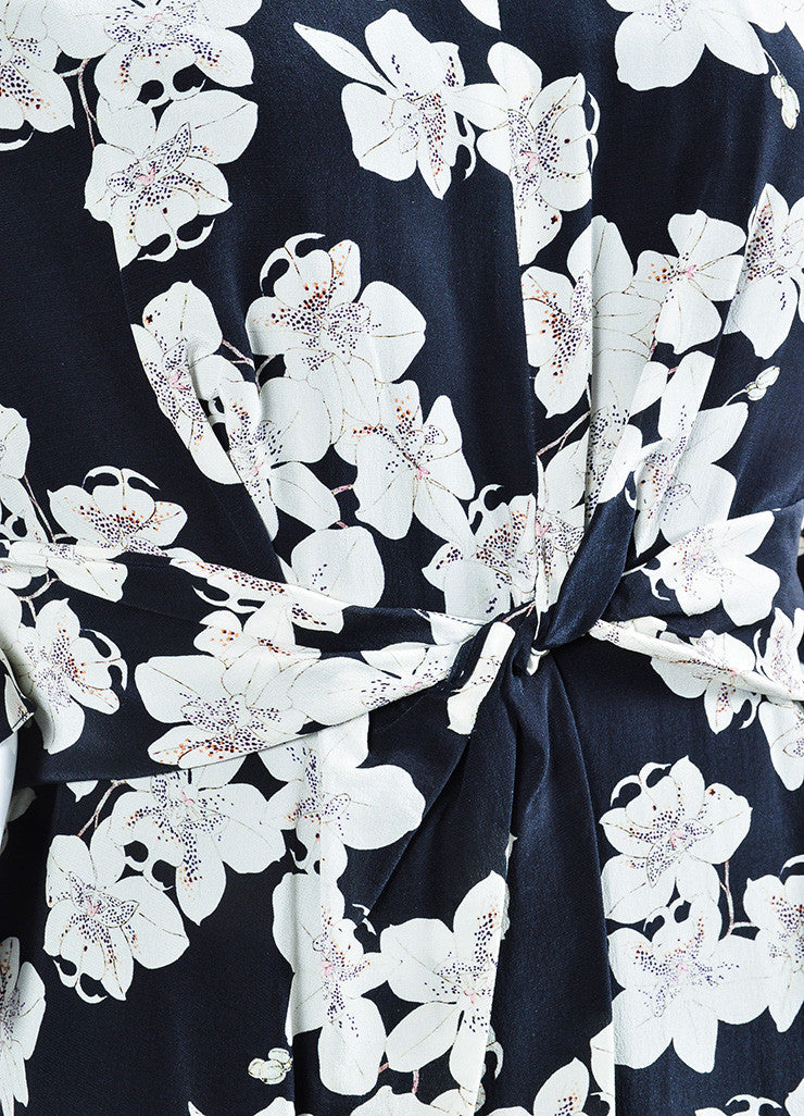 "Navy and White Erdem Silk Crepe Orchid Print ""Eden"" Long Sleeve Dress Detail"